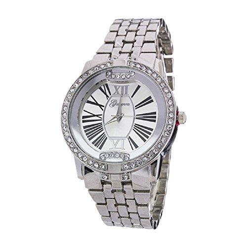 2Chique Boutique Women's Crystal Bezel Roman Number Dial Watch Rhodium -  Geneva, CBS-2166