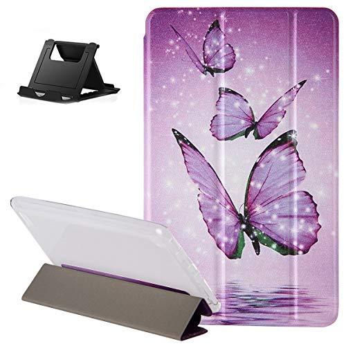 Shinyzone Hülle für iPad Pro 11 2020,Dreifach Trifold Stand Smart Cover mit Auto Schlaf/Wach,Lila Schmetterling Muster Design Leder Flip Transluzent Rückseite Schutzhülle