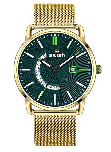 MLHXHX Relojes de hombre, moda de los hombres de los deportes, correa de malla, calendario de negocios, estudiante, impermeable, reloj de cuarzo casual, oro verde