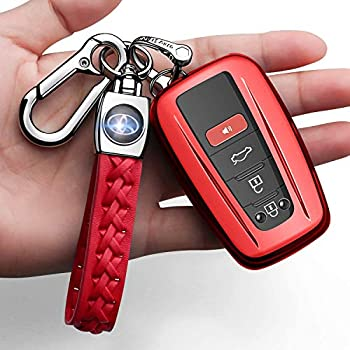 Autophone for Toyota Key Fob Cover with Keychain Soft TPU 360 Degree Protection Key Case Compatible with 2018-2021 Camry RAV4 Highlander Avalon C-HR Prius Corolla GT86 Smart Key Red
