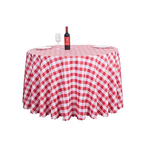Bigood Nappe aux Carreaux Simple Ronde Accessoire de Table Décoration Style Pastoral Rouge 1.4M