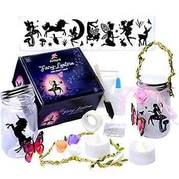 Fairy Lantern Craft Kit for Girls - Fairy Jar Kits for Girls Turn Jars into Fairy Nightlight Lantern - Great Fairy Gifts for Girls - Flip a Switch - Fairy Lantern Becomes a Magical Art Jar by ArtSprk