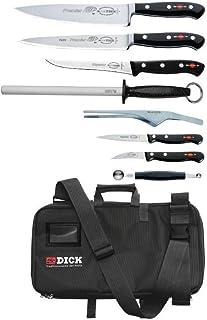Dick Knives DL386 - Juego de cuchillos con bolsa, 8 piezas, color negro