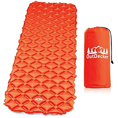 Blue OutDecker Sleeping Pad for Camping – Ultra-Lightweight and Compact Camping Air Mattress – Comfortable, Waterproof and Rip Resistant – Easily Inflatable Backpacking and Camping Pad
