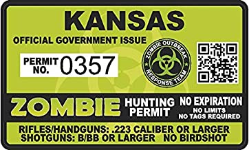"Project Thin Line Kansas KS Zombie Hunting Permit - Hunter Response Team Unit - 4"" Outbreak Sticker"