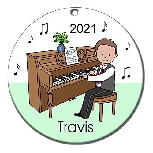 Piano Recital Personalized Ornament - Brown Haired Boy