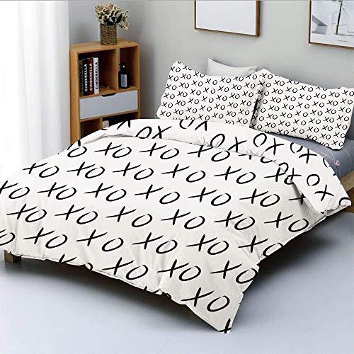 Juego de funda nórdica, patrón de besos y abrazos, símbolo de amor, signo de expresión de afecto, estampado artístico, juego de cama decorativo de 3 piezas con 2 fundas de almohada, blanco negro, el m
