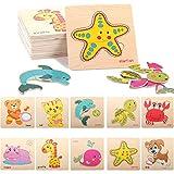 16PCS Puzzles de Madera Juguetes Bebes,Juguetes Montessoris,Puzzles de Madera Educativos,Juego de Regalo Educativo Preescolar de Aprendizaje temprano para niños (Animales)