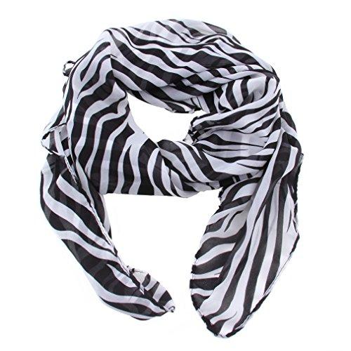 Zomer Stijl Vrouwen Meisjes Chiffon Lange Zebra Gedrukt Sjaal Cachecol Zacht En Glad Te Aanraken Met Wat Funky Rand Zwart en wit