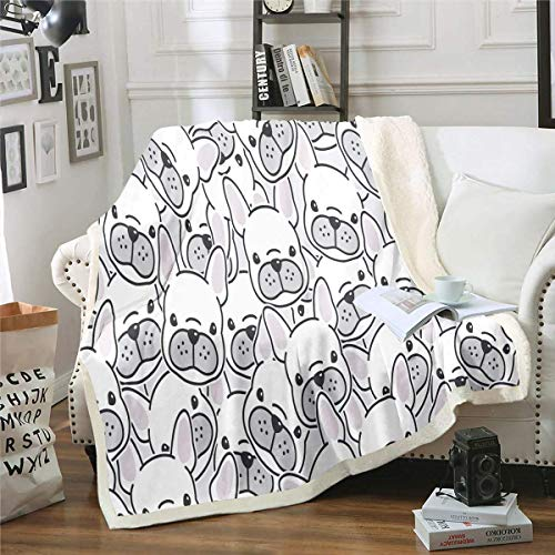 Throw Blanket French Bulldog Sherpa Blanket Cartoon Pet Dog Animal Print Plush Blanket Cute Bulldog Puppy Face Doodle Decor Fuzzy Blanket for Sofa Bed Couch - Fall Winter and Spring