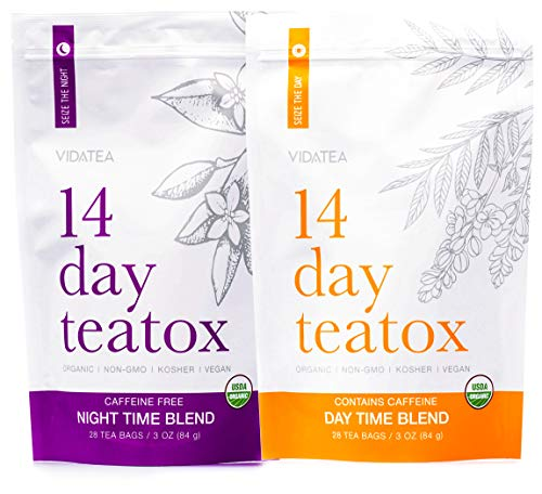 Vida Tea 14 Day and Night Organic Detox Tea - All Natural Healthy Herbal Tea Supplement - All Natural Detox - - 28 Servings