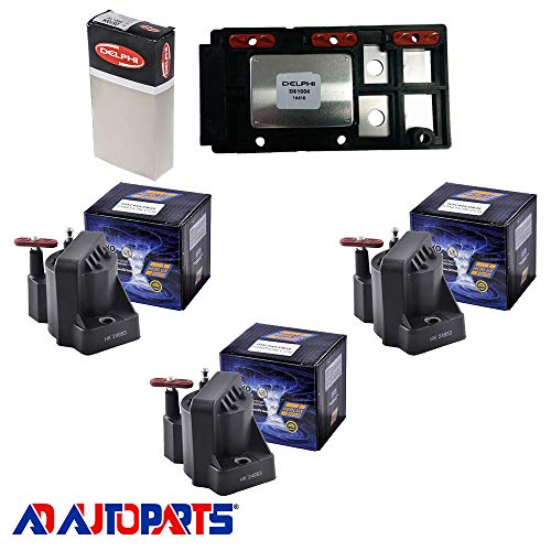 AD Auto Parts Coil Pack - DS1004 Ignition Control Module + 3 Herko B005 Ignition Coils