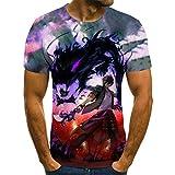 T-Shirt Camiseta de animación para Hombre, Ropa de Calle Grande para Hombre deModa 3D de Halloween, Nueva Camiseta Punk en Verano Anime de Dibujos Animados-XL