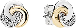 Interlinked Circles Stud Earrings With Clear Cubic Zirconia 290741CZ