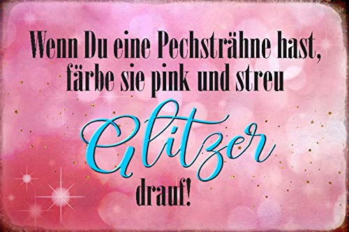 Schatzmix Wenn Du eine Pechsträhne hast, färbe sie pink und streu Glitzer Drauf!FunnyWWanddeko Sprüche Blechschild, 20x30 cm tin Sign