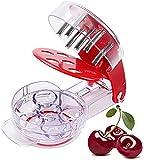 Cortador de cereza, POOPHUNS para cocina de cereza, de acero inoxidable, plástico de lujo, multiherramienta para cortar frutas, fresas, aceitunas y bayas