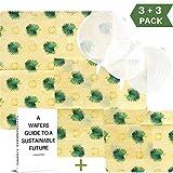 WAFE Envolturas de Cera de Abeja (3 Juegos) - Almacenamiento de desechos Cero Reutilizable | Envolturas de Cera para Alimentos | Alternativa ecológica a Clingfilm | Tapas de Silicona Gratis