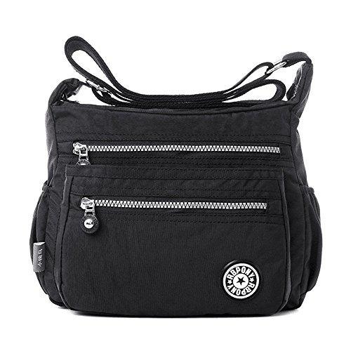 Bolso de mensajero casual de nailon con múltiples bolsillos, para mujer, bolso de viaje, color Negro, talla Talla Unica