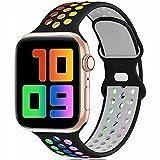 Fengyiyuda Sostituzione sportiva in silicone compatibile con cinturino Apple Watch 38 mm 40 mm 42 mm 44 mm, compatibile con iWatch serie 6/5/4/3/2/1/SE Black&Colorful-42/44-L