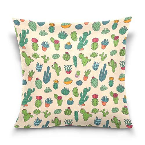 Chic Houses Funda de cojín cuadrada con cremallera, diseño de plantas de cactus y flores, pintada a mano, para sofá cama 2030138