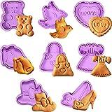 Set di 8 Pezzi Formine per Biscotti di Valentine, Mini 3D Stampino di Fondente Taglierina di Torta di Pasticceria di Biscotto di Zucchero Stampo da Forno Decorazione con Manico, Goffratura