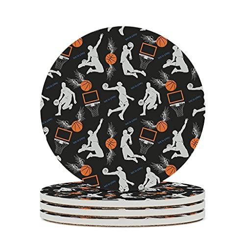 KittyliNO5 Posavasos redondos de cerámica para hombre, diseño de baloncesto, pelotas deportivas, juego de 4 o 6 posavasos con dorso de corcho para vasos, color blanco, 4 unidades