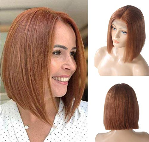Long Straight Bob Lace Front Wigs Human Hair Lace Frontal Pre Plucked Real Remy Brazilian Hair Bobs for Black Women Middle Part Bleached Knots with Baby Hair Natural 180% Density Copper Orange 12 Inch