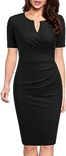 Women's Business Retro Ruffles Short Sleeve Slim Cocktail Pencil Dress