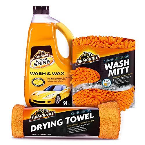 Armor All Car Wash Kit (3 Items) - Includes 64 oz Ultra Shine Wash & Wax Car Wash Soap, Wash Mitt & Microfiber Drying Towel, 19273