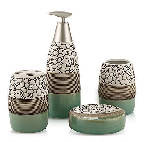 Set van 4 keramische badkamer toiletten tandenborstel bekers met zeep doos kit