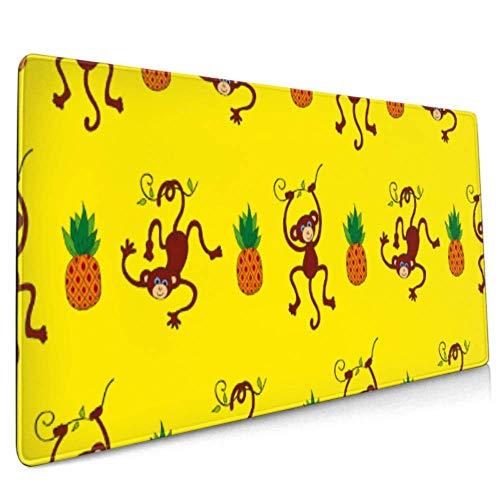 Long Mousepad (35,5 x 15,8 Zoll) Monkey Pine Pattern Desk Pad Tastaturmatte, rutschfeste Basis, wasserdicht, für Arbeit und Spiele, Büro und Zuhause