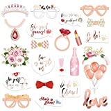 Konsait Boda Photo Booth Props, Oro Rosa DIY Photo Booth Atrezzo Favorecer photocall Accesorios Gafas Coronas para Despedida de Soltera Boda Decoracion, 23Pcs