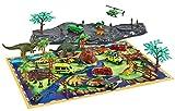 Brigamo - Set di giocattoli a forma di dinosauro con base di gioco, personaggi Dino, auto giocattolo e soldati