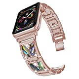 PUGO TOP Replacement for Apple Watch Band 40mm Series 5 4 Iwatch Iphone Watch Bracelet Band Strap 38mm Series 3 2 1 Cuff Bling for Women (38mm/40mm, Series 4 Gold)
