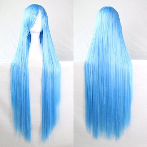 Femmes/Ladies 100cm Blue Lake couleur longue cosplay DROITE/Costume/Anime/Parti/Bangs Sexy pleine perruque
