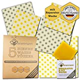 Bienenmann 5 Stck Bienenwachstücher für Lebensmittel + 1 Stck DIY & Reparaturwachs Beeswax Wrap Wachstücher...