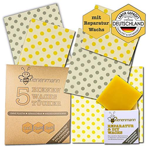 Bienenmann 5 Stck Bienenwachstücher für Lebensmittel + 1 Stck DIY & Reparaturwachs Beeswax Wrap Wachstücher Bienenwachs Alternative Frischhaltefolie Wachstuch Lebensmittel Größen L M S