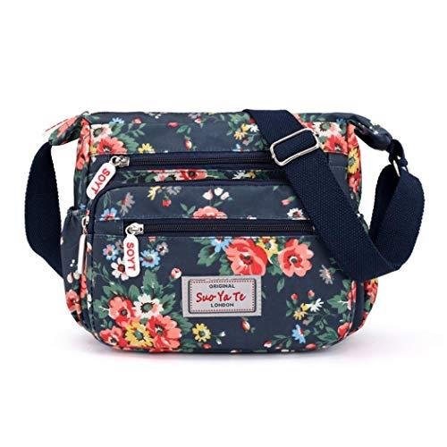 Damen-Umhängetasche, mehrere Taschen, wasserdicht, Nylon, Floralblau, Einheitsgröße