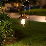 2 Pack Goeswell Solar Lanterns Outdoor Hanging Lights Decorative with Metal Hook, IP65 Waterproof Metal Case and Edison Lights Bulb for Garden Pathway Yard (Copper)