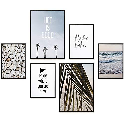 Heimlich Set di Stampe da Parete - Decorazioni da Muro per Soggiorno, Camera da Letto e Cucina - Poster Abbinati - 2 x A3 (30x42cm) et 4 x A4 (21x30cm)   Senza Cornici » Aloha Babe «