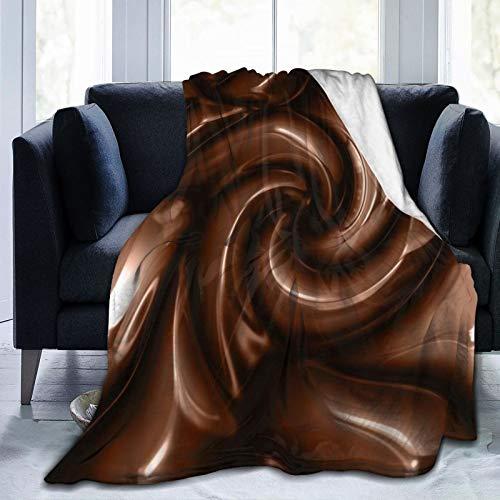 HATESAH Manta de Franela Suave,Arte Abstracto estereoscópico café Retro solidificado Chocolate Hippie,Cama de Camping para sofá 204x153cm