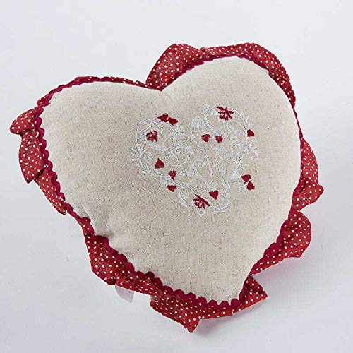 Cristina Carpets - Cojín con forma de corazón bordado, color crudo y rojo, reverso de algodón, 38 x 38 cm
