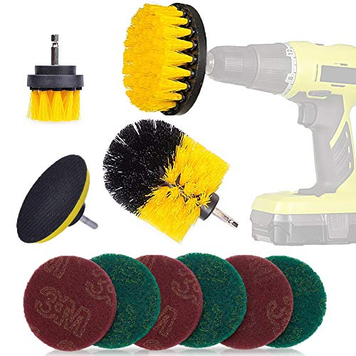 3 Piece Drill Brush + 7 Piece Scouring Pads Cleaning Kit - Electric Drill Cleaning Brush Power Scrubber Attachment Kit for Cleaning Pool Tile,Auto, Kitchen, Bathroom,Ceramic, Seats/Mat