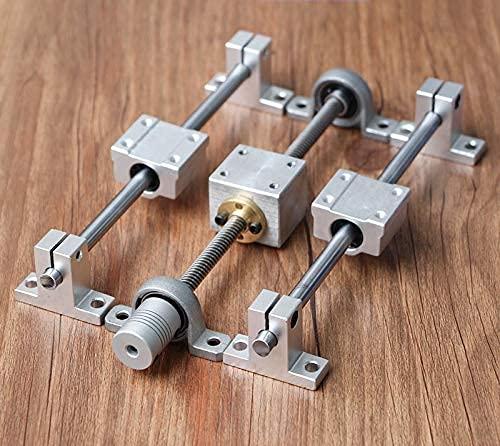 Sin 1 Juego de Kits de riel guía T8 Tornillo de Avance 200/300/400/500 mm + Eje óptico + Rodamiento KP08 + Soporte de Montaje de Carcasa de Tuerca de Tornillo para Impresora 3D (Tamaño: 400 mm)