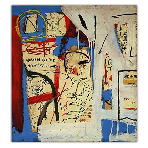 Jean Michel Basquiat 《Three Quarters of Olympia Minus the Servant》 Graffiti Art Lienzo Pintura Decoración Decoración del hogar 50x50cm (20x20in) Sin marco