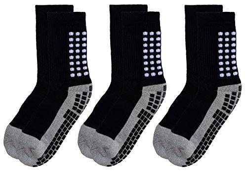 Deluxe Anti Slip Non Skid Slipper Hospital Elderly Socks with grips for Adults Men Women (Large, 3 pairs-black)