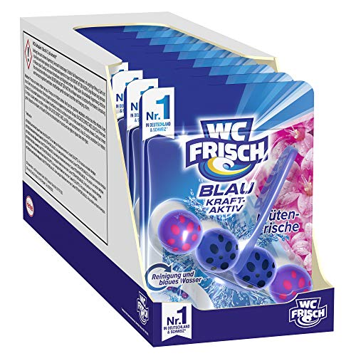 WC FRISCH Blau Kraft-Aktiv Blütenfrische, WC-Reiniger und Farbspüler, 10er Pack (10 x 1 Stück)
