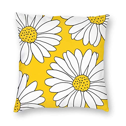 N\A Yellow and White Daisies Home Decorative Throw Pillow Case Cushion Cover for Gift Home Couch for Bed Car Sofa
