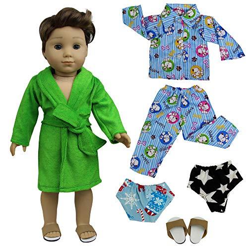 ZITA ELEMENT 5 Stück Nachtwäsche Set Puppenkleidung für American 18 Zoll Girl Junge Und Andere Puppen 45-46cm Puppen Bademantel Nachthemd Schuhe Unterwäsche