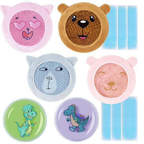 Ice Pack for Kid's Boo Boos, Small Hot or Cold Packs for Kids Injuries, Gel Ice Packs with Soft Colorful Sleeves, Cool Pads for Kids Fever, Wisdom Teeth, Sore Joints, Tired Eyes, Headache Pain Relief